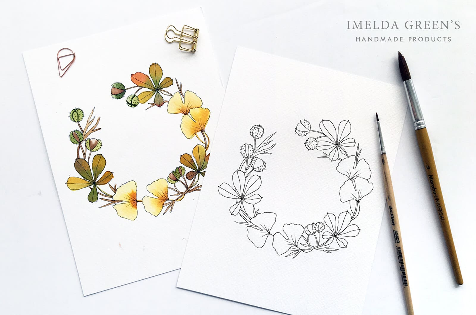Downloadable colouring page | September floral wreath - watercolour tutorial