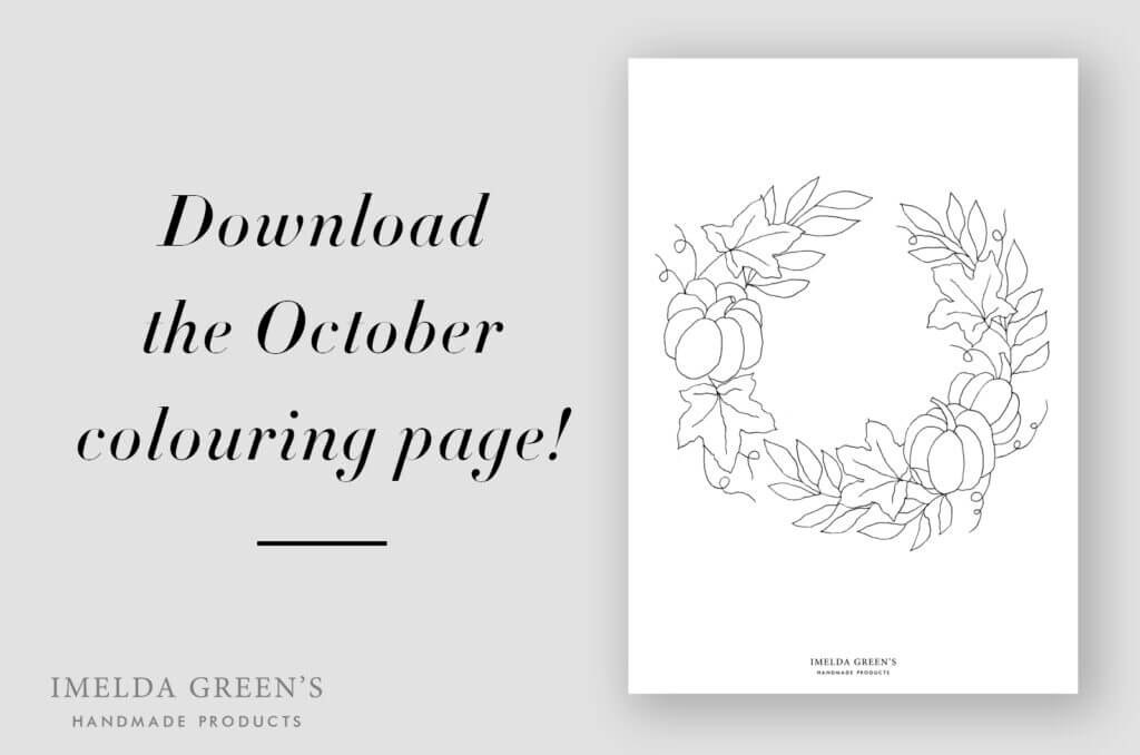 Downloadable colouring page | October floral wreath - watercolour tutorial