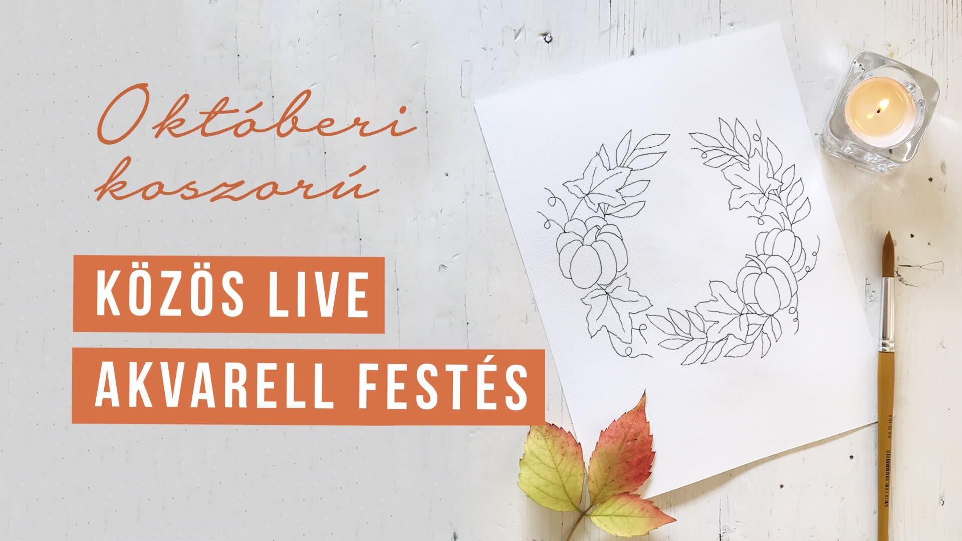 Októberi színező | virágkoszorú | akvarell festés kezdőknek