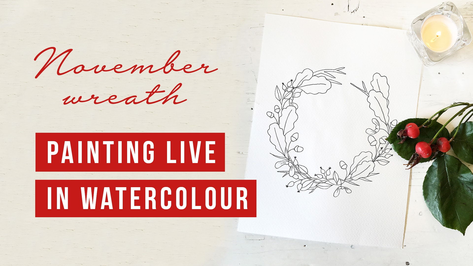 Downloadable colouring page | November floral wreath - watercolour tutorial