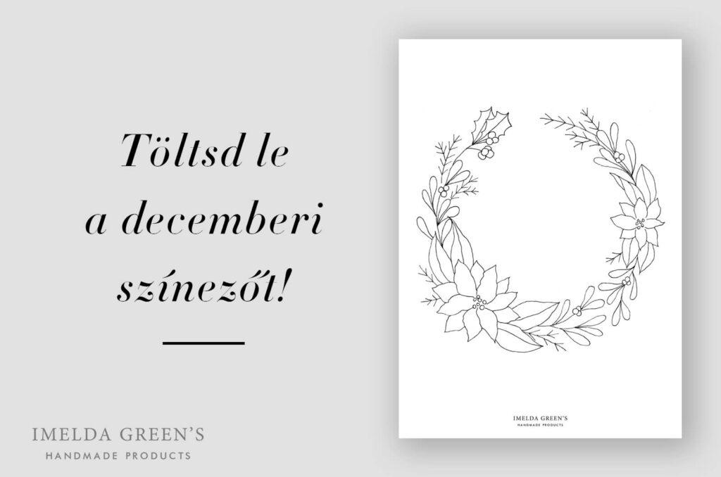 Decemberi színező | virágkoszorú | akvarell festés kezdőknek