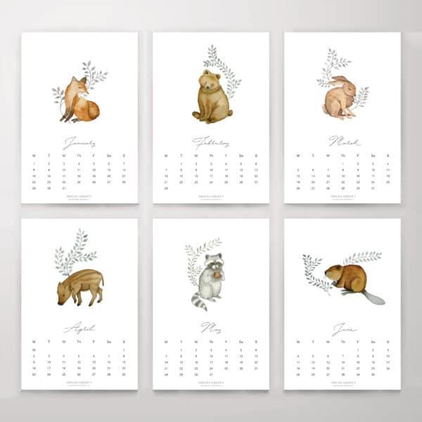 Erdei Állatok - Nyomtatható naptár