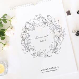Színezhető virágkoszorúk - Nyomtatható naptár