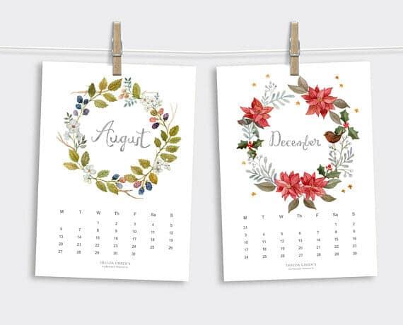 Virágkoszorúk - Nyomtatható naptár