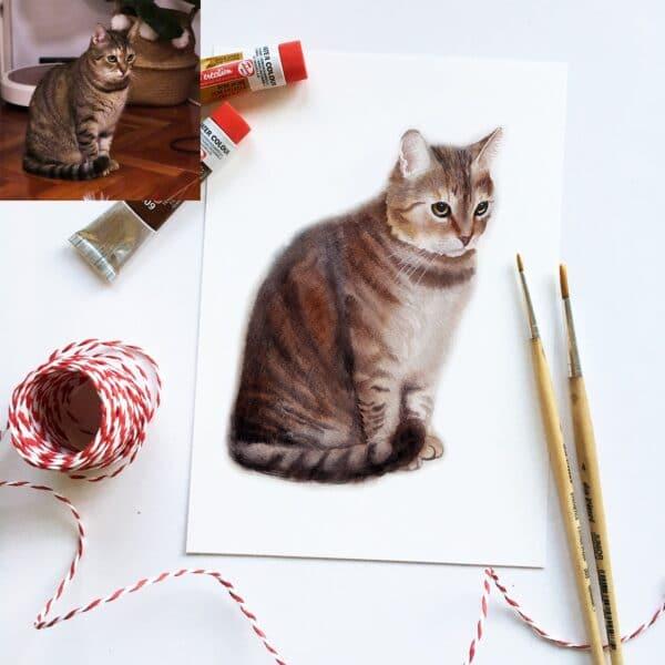 akvarell kisállat portré cica