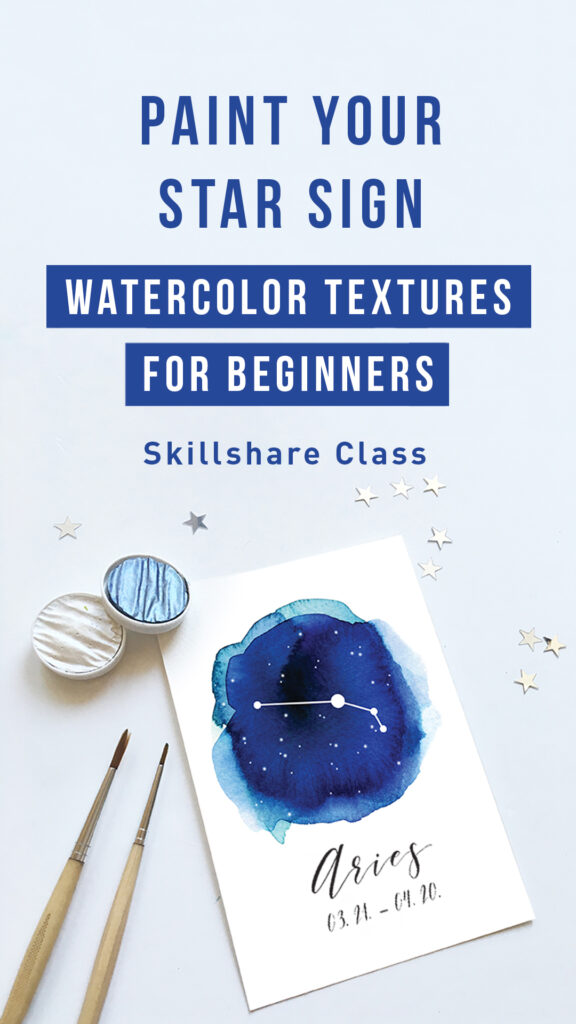 Paint your star sign - watercolor textures for beginners